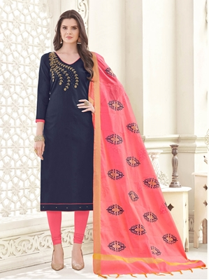 Picture of Blue Cotton Embroidery Party Designer Chudidar Kameez