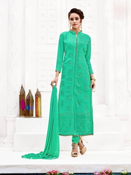 Picture of Green Georgette Embroidery CasualChudidar Salwar Kameez