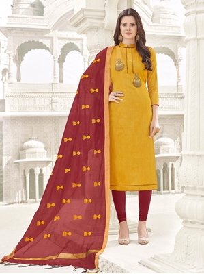 Picture of Yellow Cotton Embroidery Party Designer Chudidar Kameez