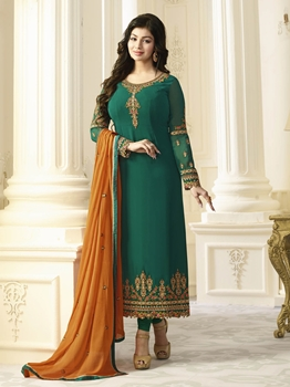 Picture of Green Georgette Multi Ceremony Chudidar Salwar Kameez