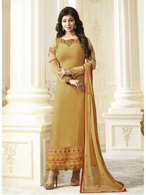 Picture of Yellow Georgette Multi Ceremony Chudidar Salwar Kameez