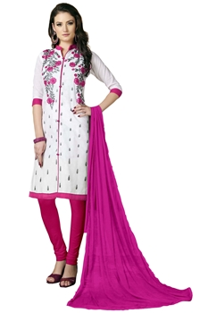 Picture of White Cotton Embroidery Salwar Kameez