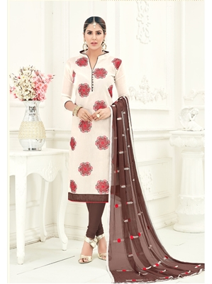 Picture of Off White Chanderi Embroidery Casual Salwar Kameez