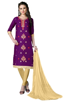 Picture of Purple Cotton Embroidery Salwar Kameez