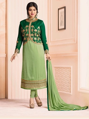 Picture of Green Georgette Embroidery Casual Chudidar Salwar Kameez