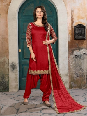Picture of Red Silk Embroidery Casual Chudidar Salwar Kameez