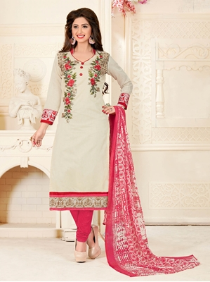 Picture of Off White Chanderi Embroidery Casual Chudidar Salwar Kameez