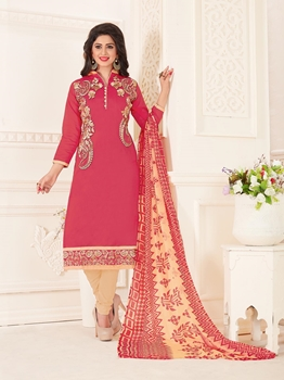 Picture of Pink Chanderi Embroidery Casual Chudidar Salwar Kameez