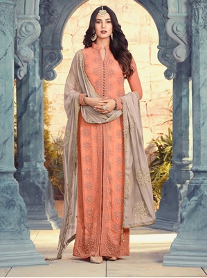 Picture of Orange Georgette Embroidery Party Designer Salwar Kameez