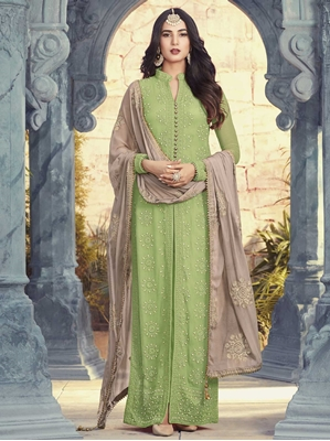 Picture of Green Georgette Embroidery Party Designer Salwar Kameez
