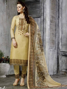 Picture of Yellow Chanderi Printed Party Designer Salwar Kameez