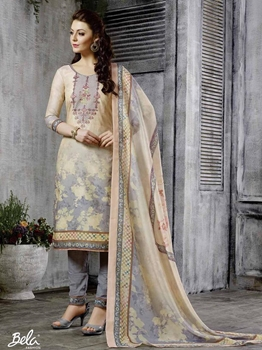Picture of Beige Chanderi Printed Party Designer Salwar Kameez