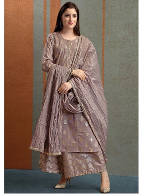 Picture of Brown Cambric Printed Party Designer Salwar Kameez
