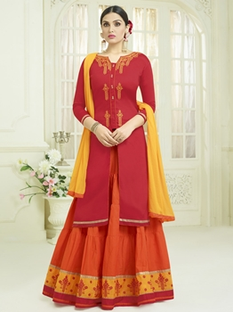 Picture of Red Cotton Embroidery Party Designer Salwar Kameez
