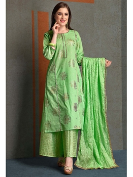 Picture of Green Cambric Printed Party Designer Salwar Kameez