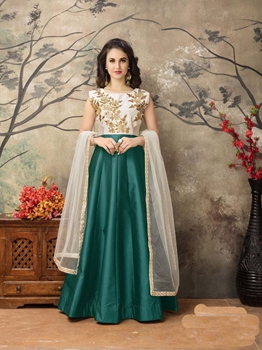 Picture of Green Tafeta Embroidery Party Designer Salwar Kameez