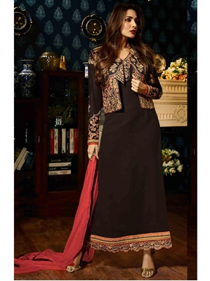 Picture of Brown Georgette Resham Ceremony Pakistani Salwar Kameez