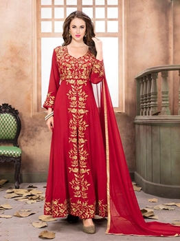 Picture of Red Georgette Zardosi Party Pakistani Salwar Kameez
