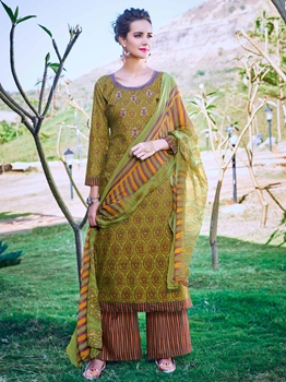 Picture of Green Cambric Printed Party Palazzo Salwar Kameez
