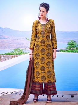 Picture of Yellow Cambric Printed Party Palazzo Salwar Kameez