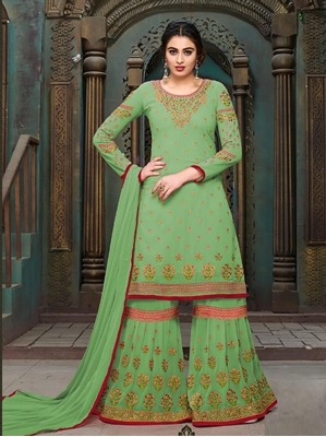 Picture of Green Georgette Embroidery Party Palazzo Salwar Kameez
