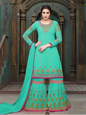 Picture of Blue Georgette Embroidery Party Palazzo Salwar Kameez