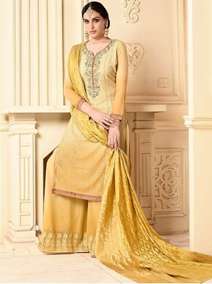 Picture of Yellow Bamber Embroidery Party Palazzo Salwar Kameez