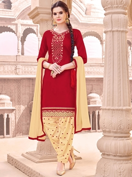 Picture of Red Cotton Embroidery Party Patiala Salwar Kameez