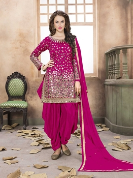 Picture of Pink Silk Mirror Party Patiala Salwar Kameez