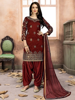 Picture of Maroon Silk Mirror Party Punjabi Salwar Kameez