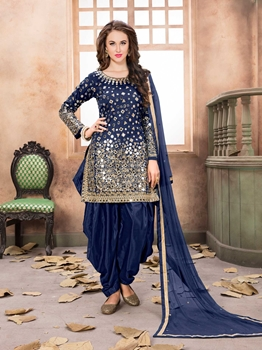 Picture of Blue Tafeta Mirror Party Patiala Salwar Kameez