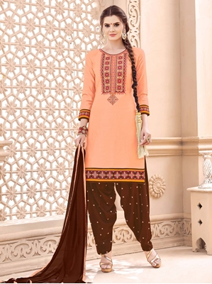 Picture of Orange Cotton Embroidery Party Patiala Salwar Kameez