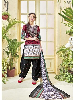 Picture of Maroon Cotton Printed Casual Regular Salwar Kameez