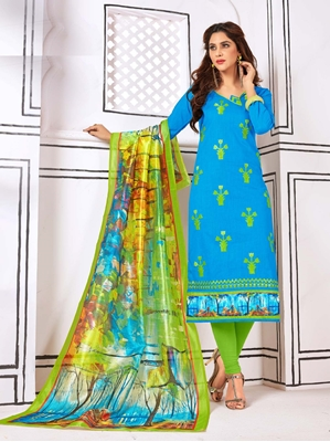Picture of Blue Cotton Embroidery Casual Straight Salwar Kameez