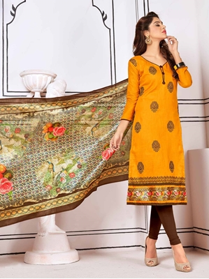 Picture of Orange Cotton Embroidery Casual Straight Salwar Kameez
