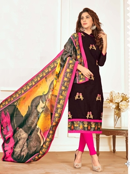 Picture of Black Cotton Embroidery Casual Straight Salwar Kameez