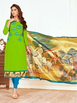 Picture of Green Cotton Embroidery Casual Straight Salwar Kameez