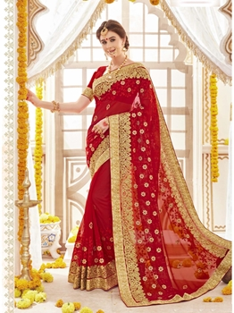 Picture of Red Georgette Stone Wedding & Bridal Designer Saree