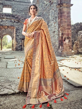 Picture of Orange Banaras Silk Thread Wedding & Bridal Designer Saree