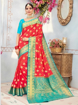 Picture of Red Silk Thread Wedding & Bridal Designer Saree