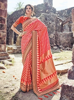 Picture of Red Banaras Silk Thread Wedding & Bridal Designer Saree
