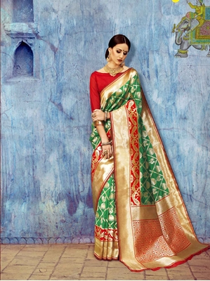 Picture of Green Silk Printed Wedding & Bridal Saree
