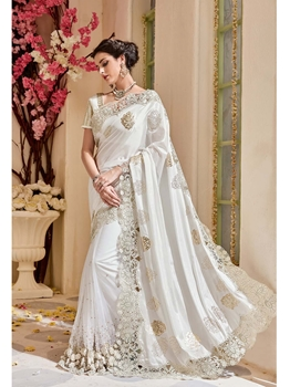 Picture of White Silk Zari Wedding & Bridal Saree