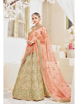 Picture of Gold Satin Zari Wedding & Bridal Saree