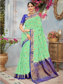 Picture of Green Silk Thread Wedding & Bridal Designer Saree