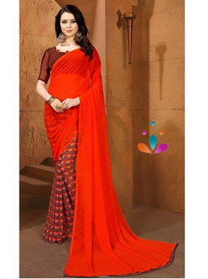 Picture of Red Chiffon Printed Regular Saree