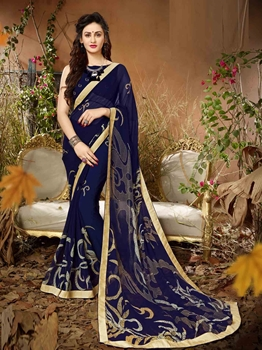 Picture of Blue Georgette Lace Regular Saree