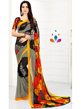 Picture of Multicolor Chiffon Printed Regular Saree