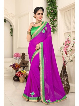 Picture of Purple Georgette Lace Casual Designer Saree