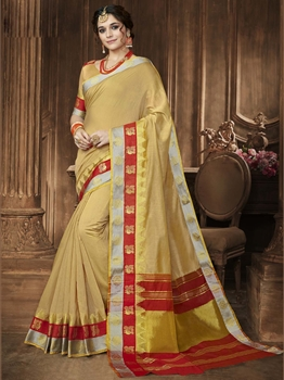 Picture of Beige Cotton Zari Regular Saree